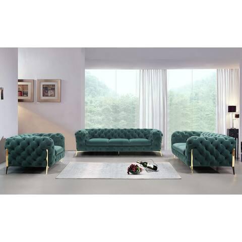 Divani Casa Sheila Modern Emerald Green Fabric Sofa Set
