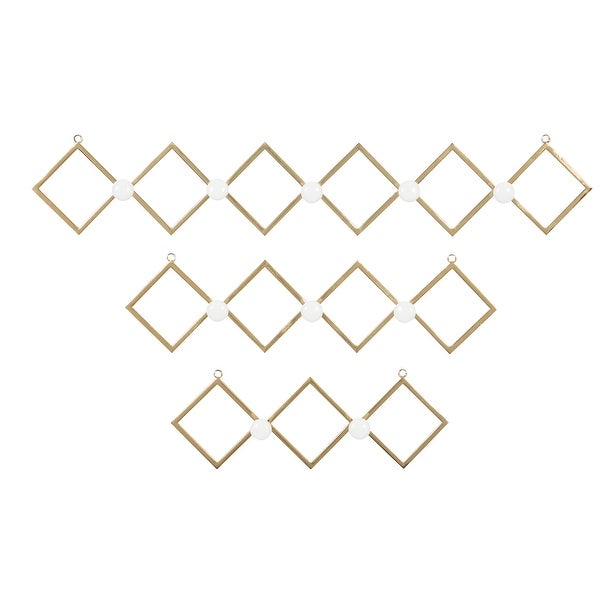Gold Metal Wall Hooks With Round White Knobs, Set Of 3 - 33 x 3 x 6. Opens flyout.