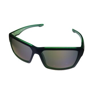 Levi Sunglass Mens Black Green Rectangle Plastic Wrap Smoke Lens LS 200 1 - Medium