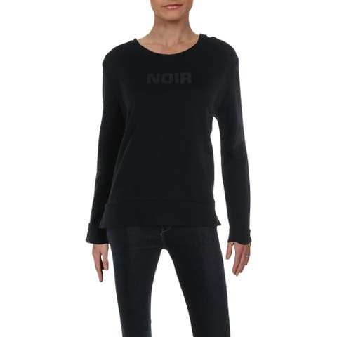 French Connection Womens Noir Sweatshirt, Crew Cotton Split Hem - Black Black