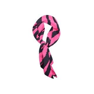Roberto Cavalli Pink Black 100% Silk Zebra Print Skinny Scarf - s