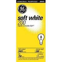 GE 44534 Soft White Light Bulb, 200 Watt, 3405 Lumen