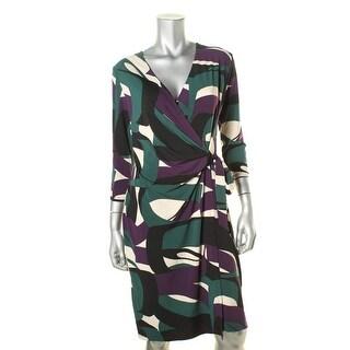 Anne Klein Womens Printed Faux Wrap Wear to Work Dress