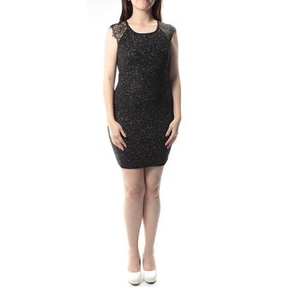 Womens Black, Silver Cap Sleeve Above The Knee Sheath Party Dress Size: S