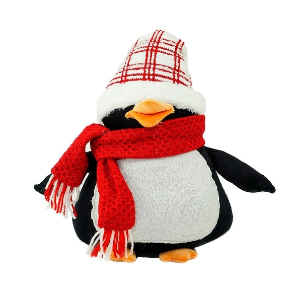 """13.75"""" Penguin Wearing a Scarf and Plaid Hat Christmas Tabletop Decoration"""