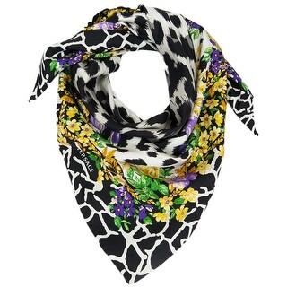 Versace VDA 9917 Grey Floral Safari Purple 100% Silk Scarf