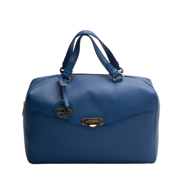Versace Collection Women Leather Borsa Giorno Satchel Handbag Blue - S