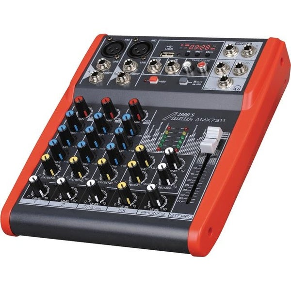 Professional Four-Channel Audio Mixer with USB and DSP Processor