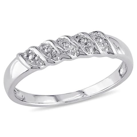 Miadora Sterling Silver Diamond Illusion Stackable Anniversary Wedding Band Ring