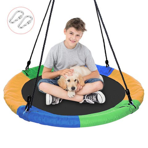"40"" Waterproof Saucer Tree Swing Set, Indoor/Outdoor Round Kids Swing Seat 660lb Weight Capacity - Multi-Color"