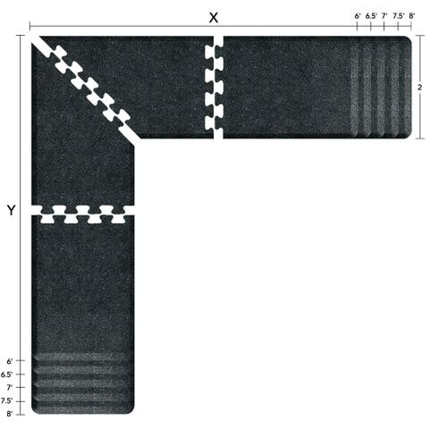 WellnessMats Puzzle Piece Collection 7 X 6 X 2 Feet, 4 Piece L Series Anti-Fatigue Office & Kitchen Mat Set, Granite Onyx