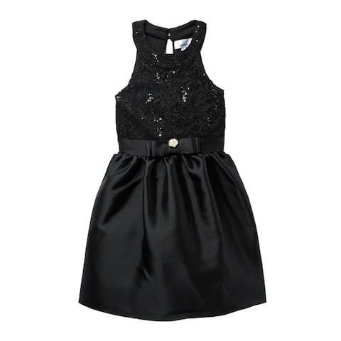Love Nickie Lew Girls Dress Black Size 8 Sequin Bow Taffeta Halter