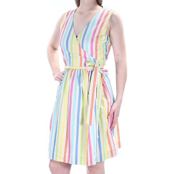 65a293ec365 Shop Womens Beige Striped Sleeveless Above The Knee Wrap Dress Dress Size:  14 - Free Shipping On Orders Over $45 - Overstock - 23450488