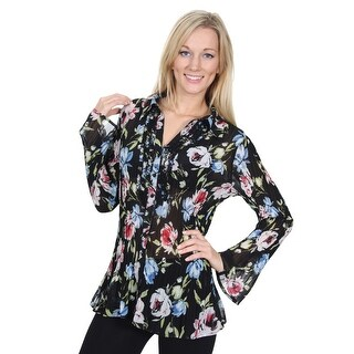 Cathaya Women's Black Red Blue Floral Print Pleated Plus Size Shirt