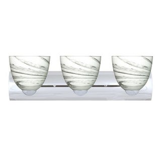 Besa Lighting 3WZ-7572MG Sasha 3 Light Reversible Bathroom Vanity Light with Marble Grigio Glass Shades