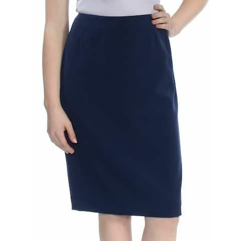 Kasper Women's Skirt Horizon Blue Size 16P Petite Straight Pencil Crepe