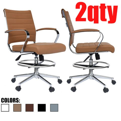 Set of 2 Modern Designer Ergonomic Office Drafting Chair with Arms Ribbed Computer Tan