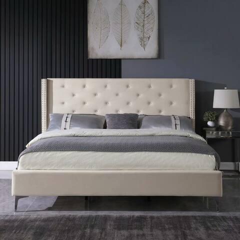 Morden Fort Upholstered Platform Bed Frame,Velvet,Grey,Queen