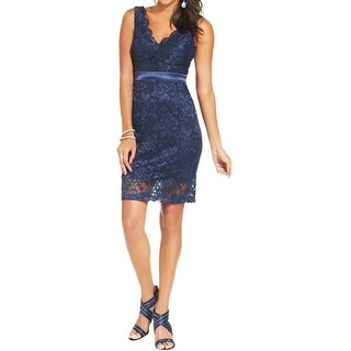 Teeze Me Womens Juniors Cocktail Dress Lace V-Neck