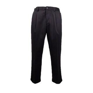 Dockers Men's Comfort Khaki Pleated Pants (Black, 34x30) - 34X30