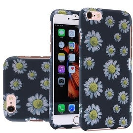 Insten Black/ White Daisy Blossom Hard Snap-on Rubberized Matte Case Cover For Apple iPhone 6 Plus/ 6s Plus