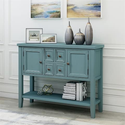Solid Wood Frame Buffet Sideboard Console Table with Bottom Shelf