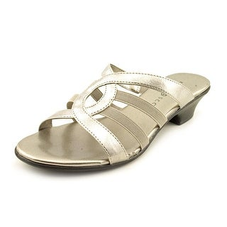 Karen Scott Emet Women Open Toe Synthetic Silver Slides Sandal