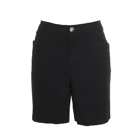 Charter Club Classic Black Slim Hip Below Waist Pocketed Shorts 18