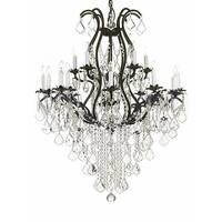 Swarovski Crystal Trimmed Chandelier! Wrought Iron Chandelier Lighting Chandeliers Dressed with Swarovski Crystal - Black