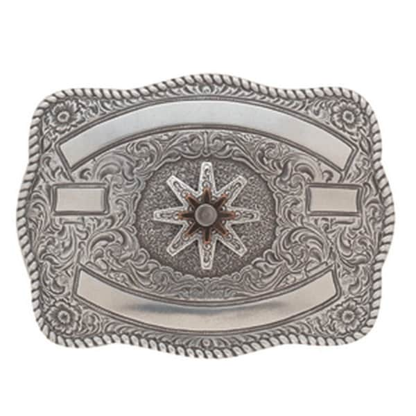 Crumrine Western Belt Buckle Womens Spur Rowel Scallop Silver - 3 1/4 x 4 1/4