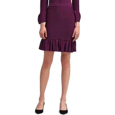 DKNY Womens Flounce Skirt Ribbed Ruffled - XS