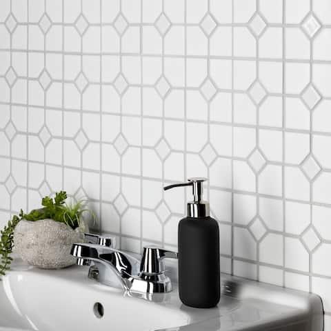 "SomerTile Oxford Matte White with Glossy White Dot 11.5"" x 11.5"" Porcelain Mosaic Tile"