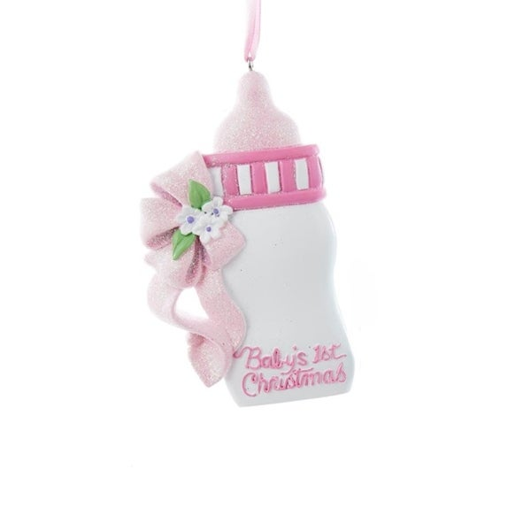 "4"" Pink Glittered ""Baby's 1st Christmas"" Baby Bottle Christmas Ornament for Personalization"