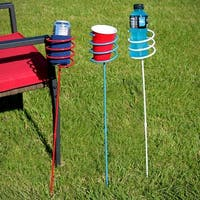 Sunnydaze Heavy-Duty Red, White and Blue Outdoor Drink Holder Set