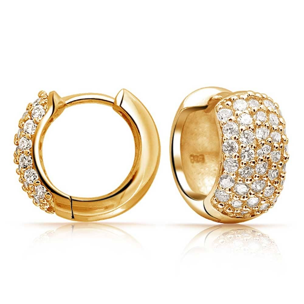 5 Five Row Pave Cubic Zirconia Wide Hoop Earrings For Women 14k Gold Plated 925 Sterling Silver