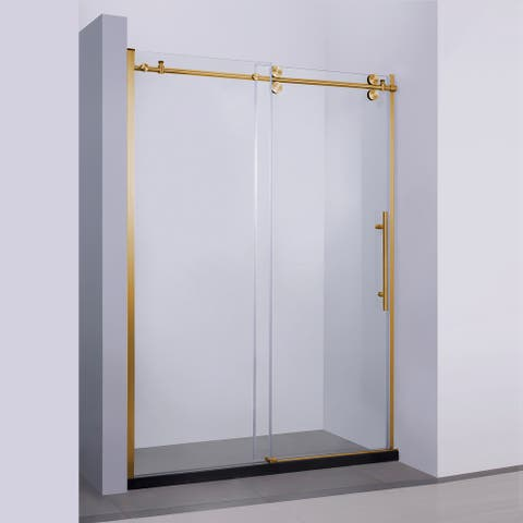 "Massa 60"" W x 76"" H Sliding Frameless Shower Door in Brushed Gold - 60"" W x 76"" H"
