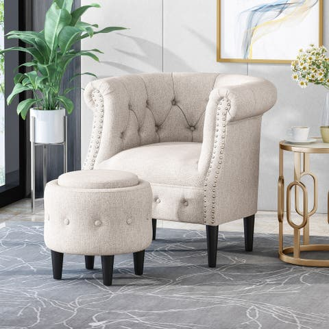 Beihoffer Petite Tufted Fabric Chair and Ottoman Set by Christopher Knight Home