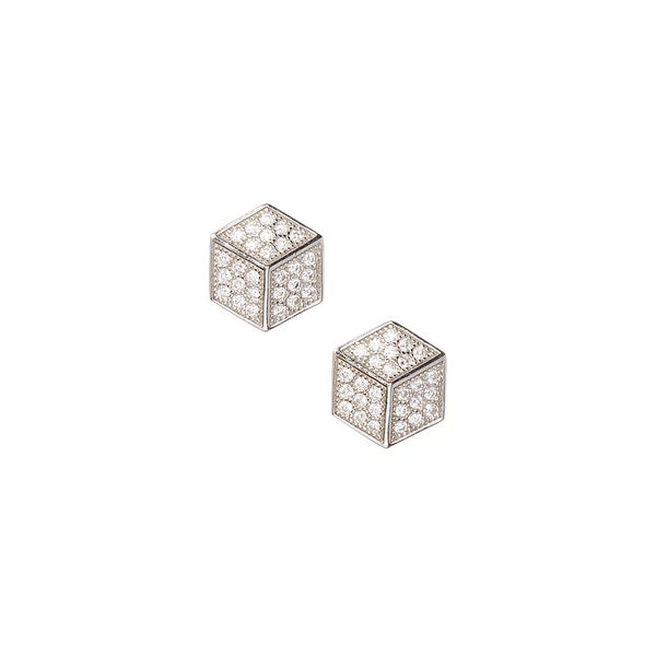 925 Sterling Silver Cube Stud Earrings with Cubic Zirconia