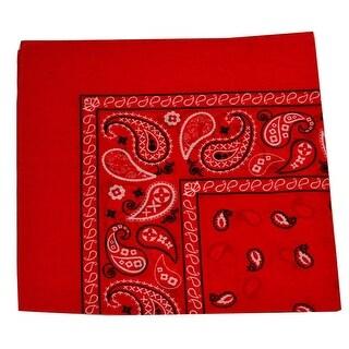 Unisex Red Classic Paisley Pattern Cotton Soft Scarf Hairband Bandana