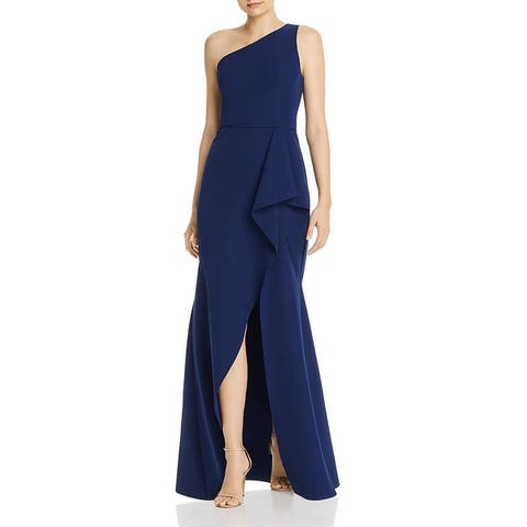 Aidan by Aidan Mattox Womens Formal Dress One Shoulder Ruffled - Navy