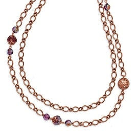 Copper Antiqued Purple Beaded Layered Necklace - 42in