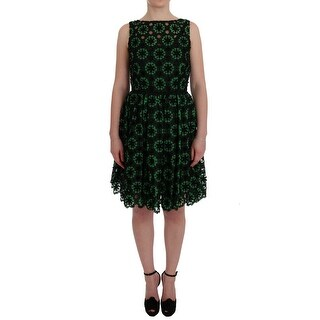 Dolce & Gabbana Green Floral Ricamo A-Line Shift Dress - it42-m