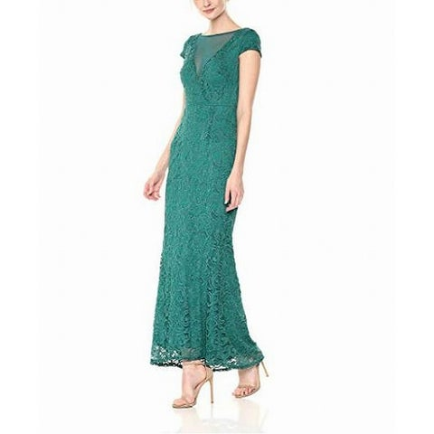 Marina Forest Green Womens Size 6 Shimmer Lace Illusion Gown Dress