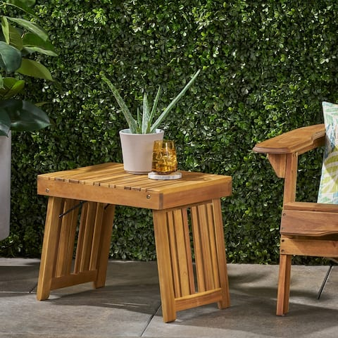 "Kyoto Outdoor Acacia Wood Folding Side Table by Christopher Knight Home - 21.50"" W x 13.75"" D x 16.00"" H"