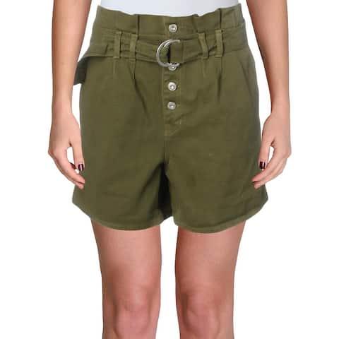 Free People Womens Cindy High-Waist Shorts Denim Utility - Sage - 4
