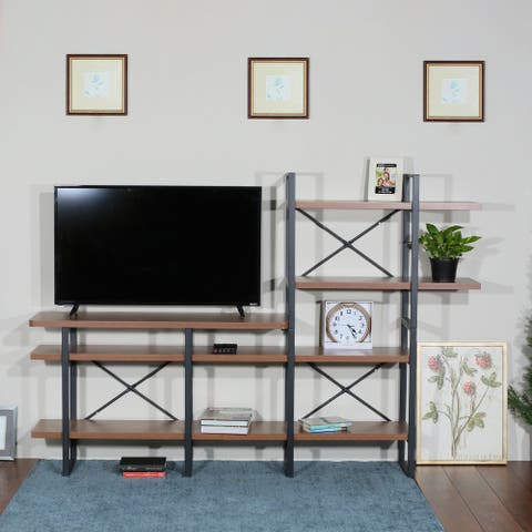 Davee Furniture Open Walnut Shelves 6-tier Entertainment TV Stand - 56.69*82.68*13.78 inches