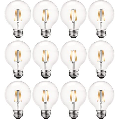 Luxrite 5W Vintage G25 LED Globe Bulbs Dimmable, 5000K Bright White, 550 Lumens, E26 bulb 60W Equivalent 12 Pack