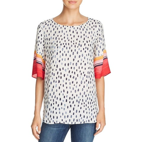 Nic + Zoe Womens Merengue Pullover Top Printed Lightweight