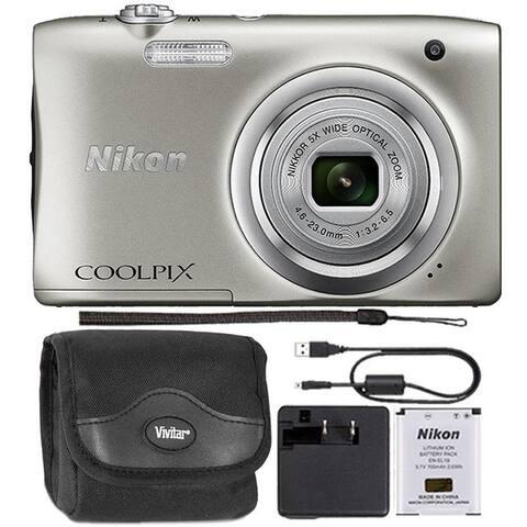 Nikon Coolpix A100 20.1 MP Compact Digital Camera Silver + Camera Case