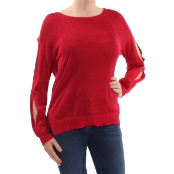 VINCE CAMUTO Womens Red Cold Shoulder Long Sleeve Jewel Neck Sweater Size: S